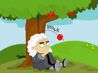 Newton pod jablano