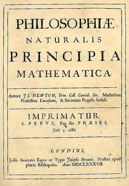 naslovnica Newtonove knjige Matematični principi naravoslovja