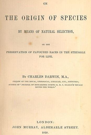 naslovnica Darwinove knjige O nastanku vrst